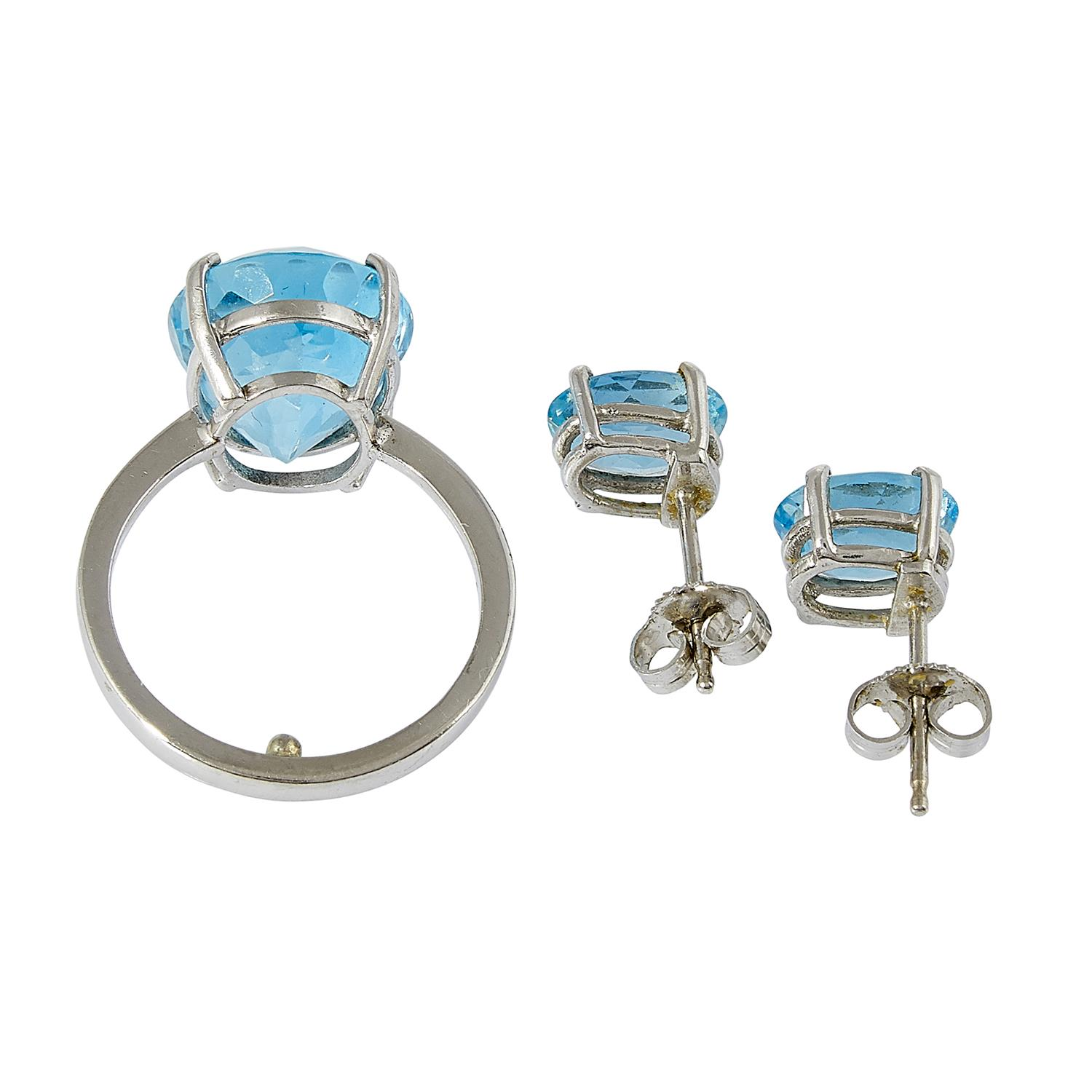 Contemporary aquamarine demi-parure: ring and earrings ring size: 4 1/2
