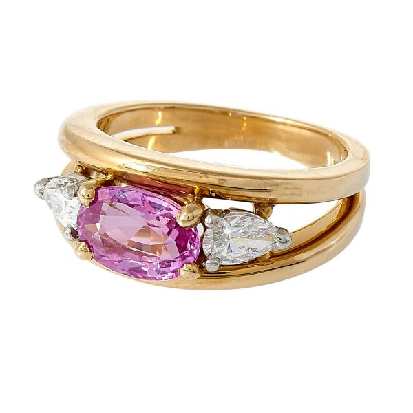 Oscar Heyman Brothers yellow gold, platinum, pink sapphire and diamond ring size: 5