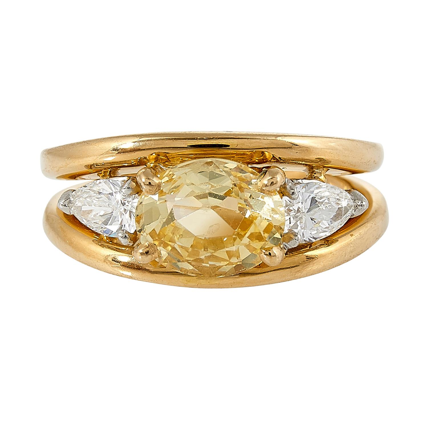 Oscar Heyman Brothers yellow gold, platinum, yellow sapphire and diamond ring size: 5