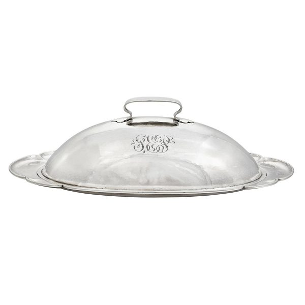 "The Kalo Shop covered platter, #N275 13""w x 7 1/4""d x 4""h"