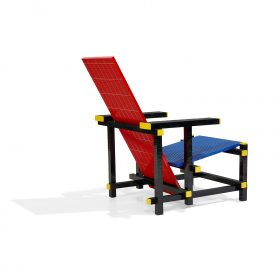 "Mario Minale (b. 1973) for Droog Red Blue LEGO chair 26 1/2""w x 33""d x 33""h"