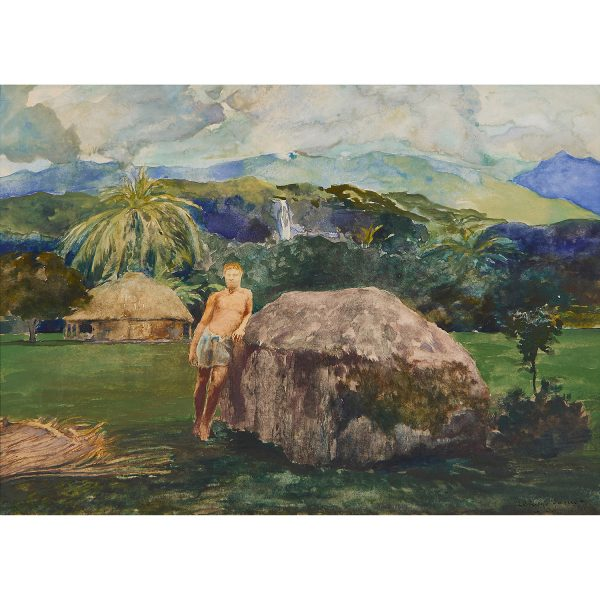 "John La Farge, (American, 1835-1910), A Chief's Tomb, 1890, watercolor on paper laid to board, 7 3/8"" x 10 1/4"""