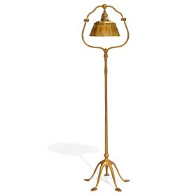 "Tiffany Studios Linen Fold shade and Harp floor lamp overall: 15""w x 16""d x 58""h; shade: 9 1/2""dia x 5 1/2""h"