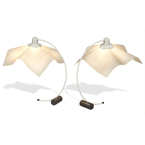 "Mario Bellini (b. 1935) & Giorgio Origlia for Artemide Area Curvea table lamps, pair 21""w x 18""d x 22 1/5""h"