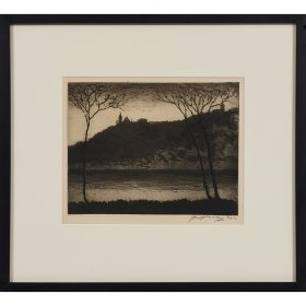 """Edward T. Hurley, (American, 1869-1950), River View from Dayton, Kentucky, 1930, etching, 8 1/2"""" x 10 7/8"""""""