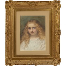 "Follower of Arthur Hughes, (British, 1832-1915), Portrait of a Girl with Golden Hair, watercolor and gouache on paper, 20"" x 15 1/2"""