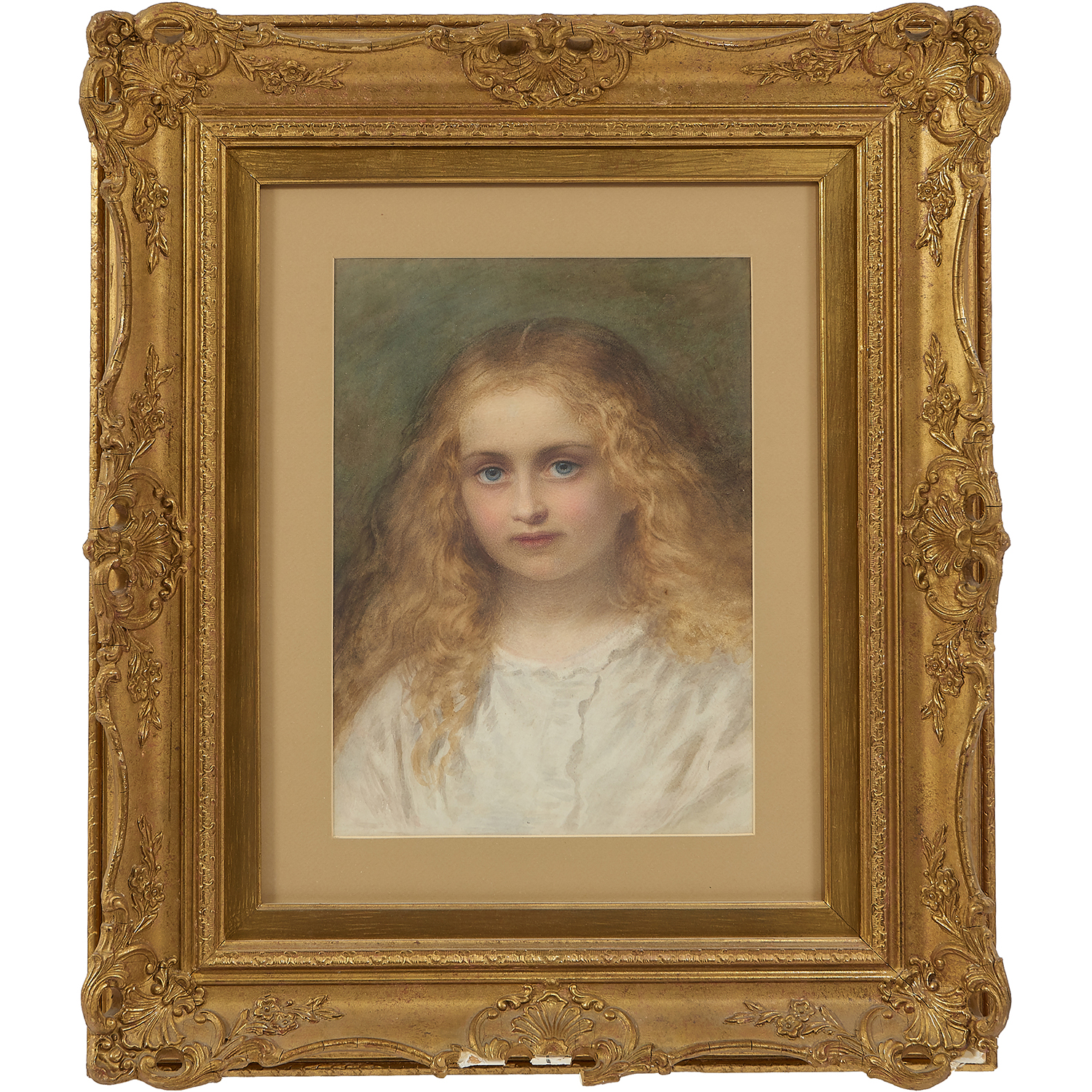 """Follower of Arthur Hughes, (British, 1832-1915), Portrait of a Girl with Golden Hair, watercolor and gouache on paper, 20"""" x 15 1/2"""""""