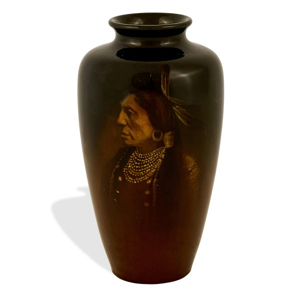 """Matthew A. Daly (1860-1937) for Rookwood Pottery Standard Glaze Native American vase, #614E 4 1/2""""dia x 7 7/8""""h"""