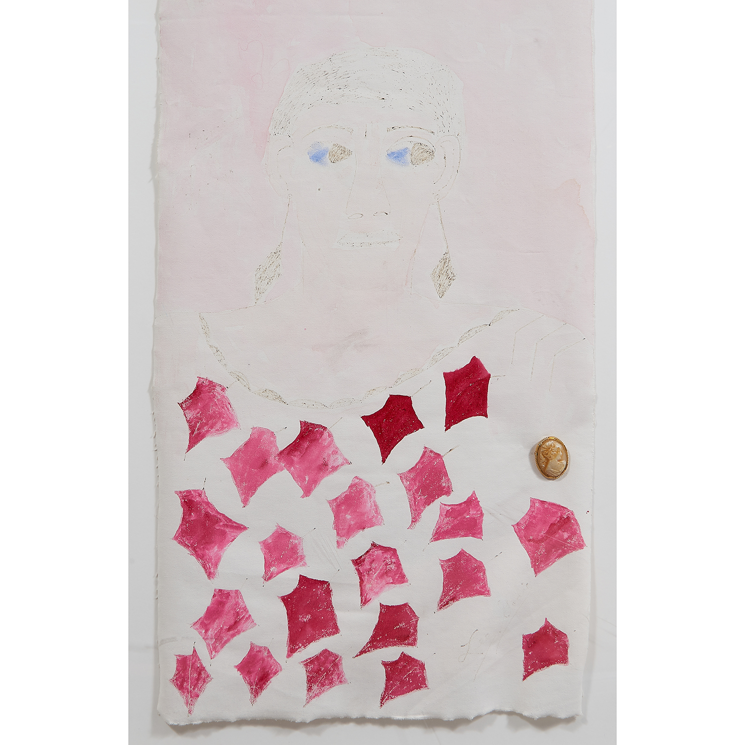 "Lee Godie, (American, 1908-1994), Untitled, ballpoint pen and watercolor on window shade canvas with found object, 52"" x 19"""