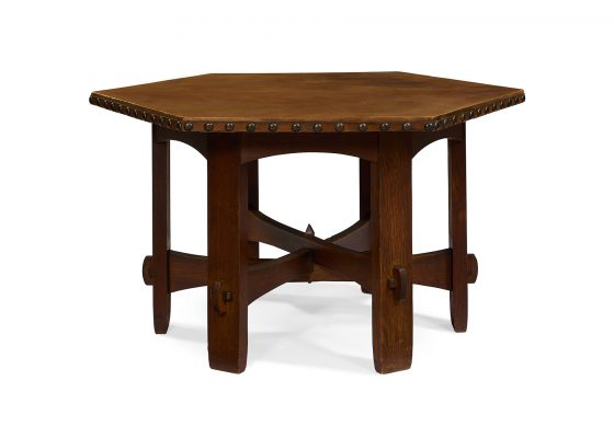 Gustav Stickley, early leather-top hexagonal table