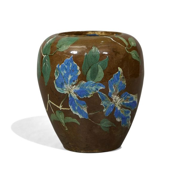 """John Bennett (1840-1907) vase decorated with clematis 6 1/2""""dia x 7 3/8""""h"""