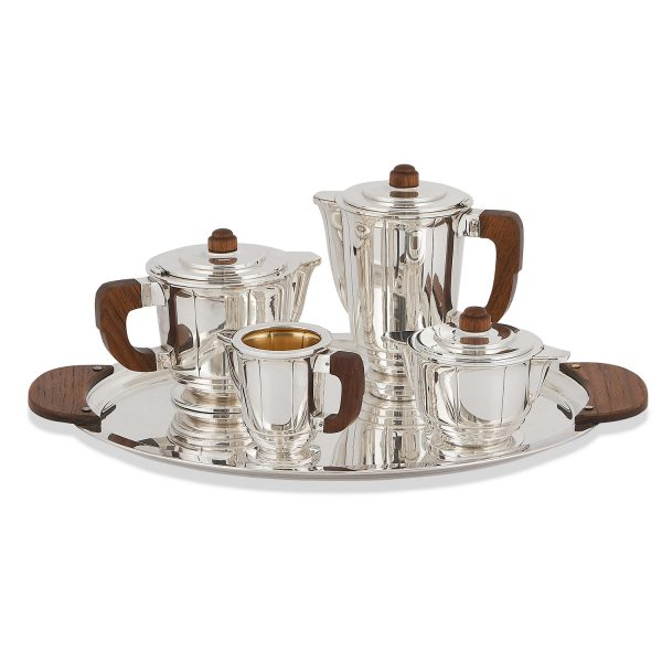 """French Art Deco coffee and tea service: coffee pot, teapot, sugar, creamer and tray coffee pot: 7 1/4""""w x 4 5/8""""d x 7 1/2""""h; tray: 2..."""