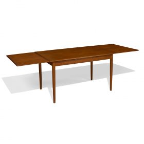 "Danish Modern dining table with leaves 52 1/2""w x 33""d x 29 1/2""h; fully extended: 93 1/4""w"