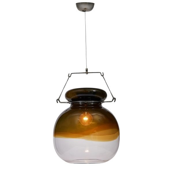 "Toni Zuccheri (1937-2008) for VeArt ceiling pendant light glass: 16""dia x 17""h"