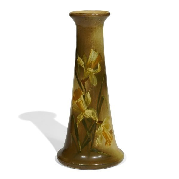 "Owens Pottery Co. vase decorated with jonquils, #280C 6 1/2""dia x 14 1/8""h"