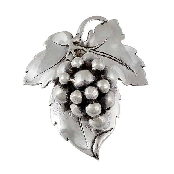 "Clemens Friedell (1872-1963) grape cluster and leaf brooch 2 7/16""w x 2 15/16""h"