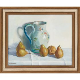 "Anne Power Hardenbergh, (American, 1915-1999), Pears & Pitcher, oil on canvas, 16"" x 20"""