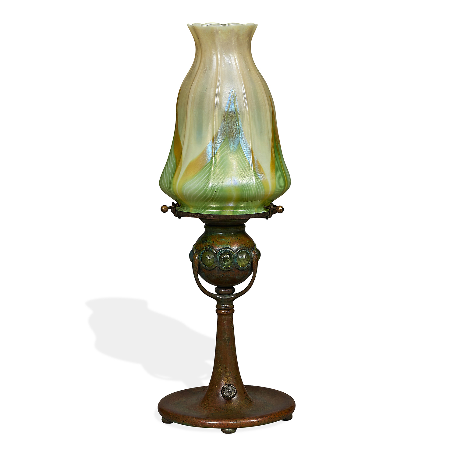 "Tiffany Studios boudoir lamp: Pulled Feather shade on jeweled candlestick base, #485 5 3/8""dia x 15 3/8""h"
