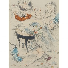 """Louis Icart, (French, 1888-1950), Desdin de Femme, together with Footsie and Orgy, 1945-1947, color etching, 12 3/4"""" x 9 3/4""""; 7 1/2..."""