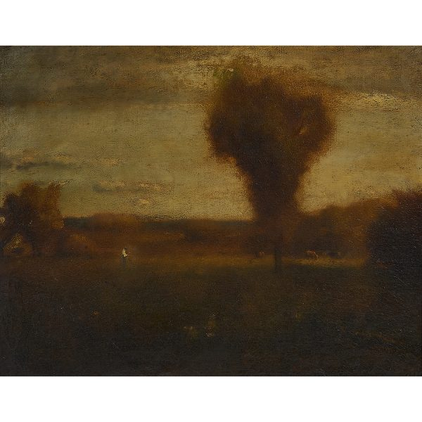 "Attributed to George Inness, (American, 1825-1894), Early Autumn — Montclair, oil on canvas, 16"" x 20"""