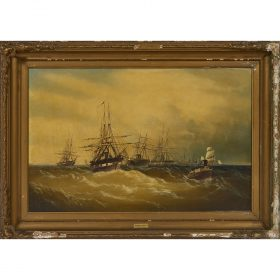 """Attributed to Edward Moran, (British/American, 1829-1901), Ships at Sea, oil on canvas, 23"""" x 35 1/2"""""""