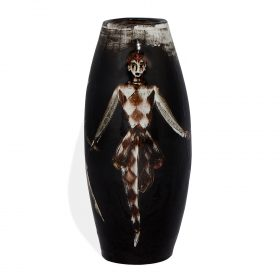 """In the Style of Polia Pillin vase with three dancing figures 5""""dia x 11 1/2""""h"""