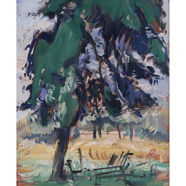"Jean Helion, (French, 1904-1987), A Shade Tree, 1964, oil on particleboard, 18 1/4"" x 15"""