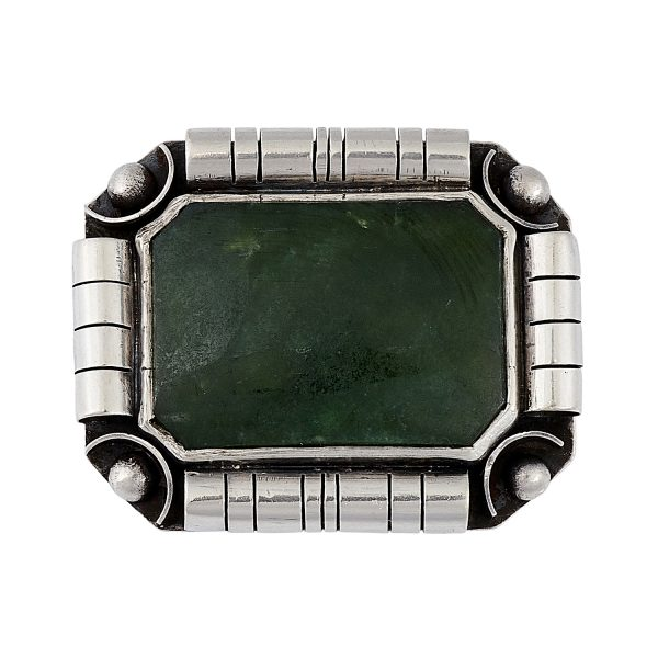 "Maker Unknown, Continental School elongated rectangular brooch with faceted corners 13/16""w x 1 3/8""h"
