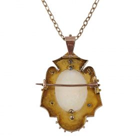 """Victorian rose gold, opal and diamond pendant brooch with necklace chain pendant brooch: 1 1/4""""w x 2""""h (with bail); chain: 23 3/4""""l"""