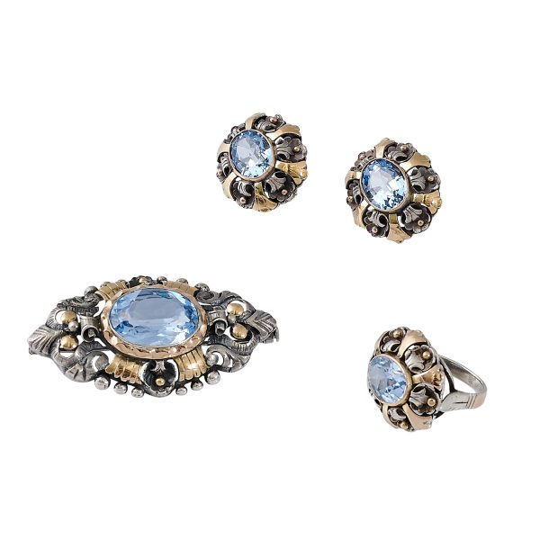 Victorian Renaissance Style silver, yellow gold and lab-created pale blue spinel parure: brooch, ring and French-back earrings ring...