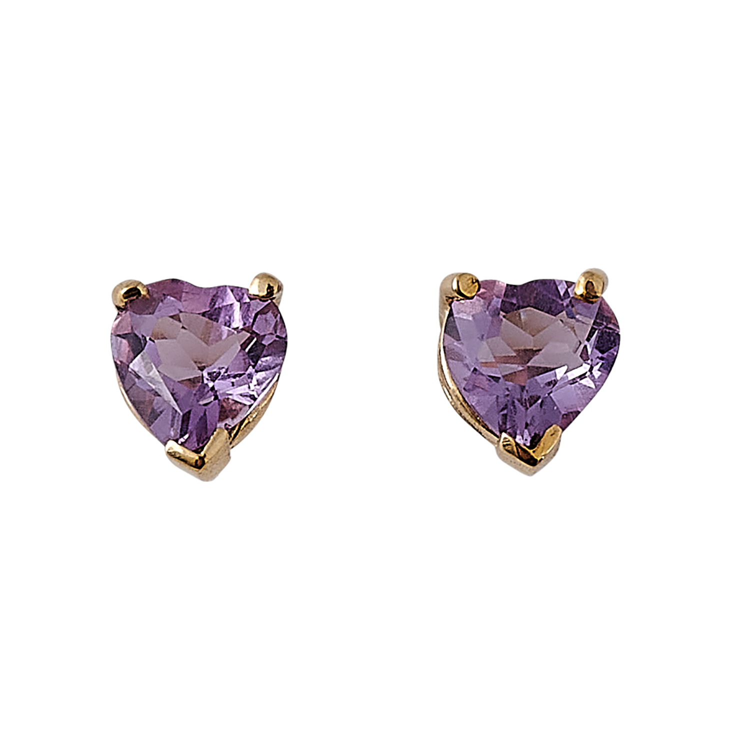 """Contemporary yellow gold and amethyst heart motif parure: bracelet, ring and post earrings bracelet: 7""""l; ring size: 6 1/2"""