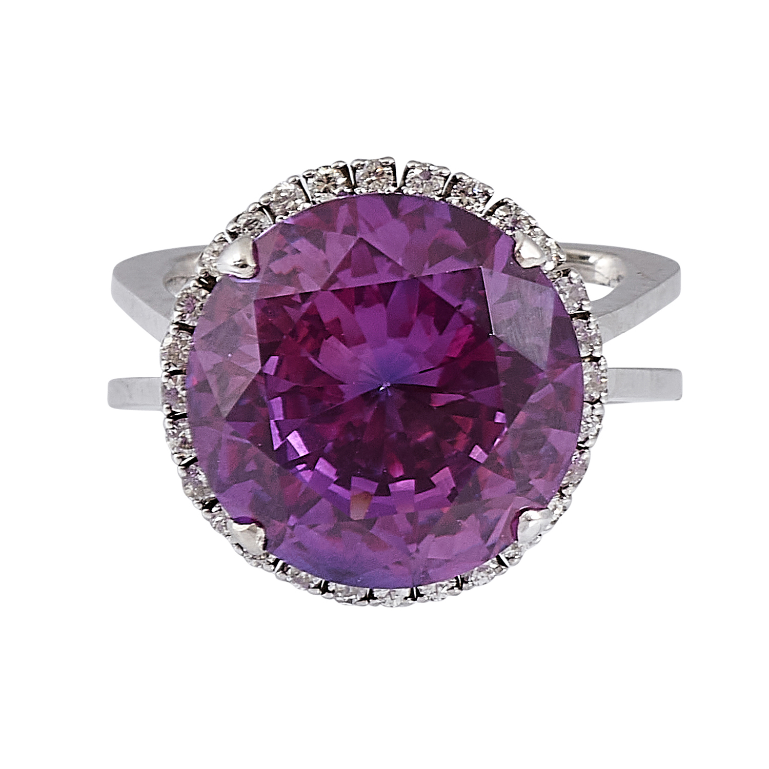 Contemporary white gold, lab-created purple sapphire and diamond ladies ring size: 6 1/2