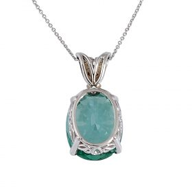 """Contemporary white gold, lab-created teal spinel and diamond pendant necklace pendant: 7/16""""w x 15/16""""h; chain: 18""""l"""