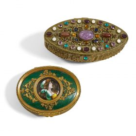 "Austrian Antique elliptical jeweled dresser box larger: 4 5/8""w x 2 5/8""d x 2 3/4""h"