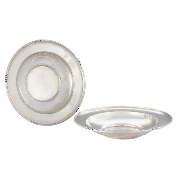 """The Kalo Shop round bowls with linear decoration to the edges, #112, assembled pair 9 3/8""""dia x 1 3/4""""h"""