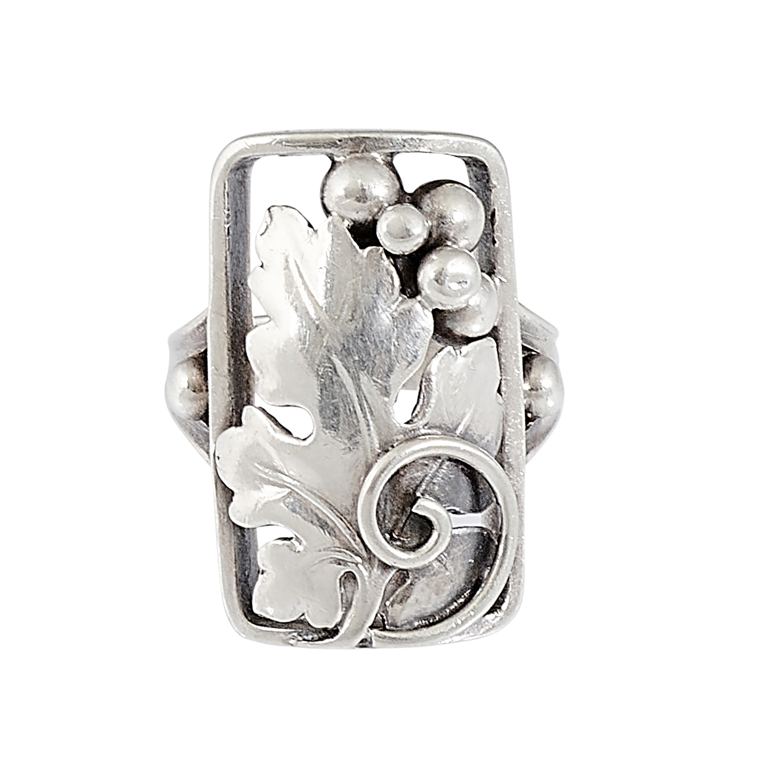 """Attributed to Gilbert Burton Oakes (1919-1987) ladies ring with grapevine motif size: 5 3/4; face: 3/4""""w x 15/16""""h"""