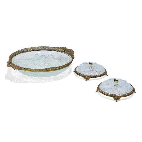 Maker Unknown, French or possibly American Art Glass three-piece table garniture with ormolu style mounts: center bowl and (2) candl...