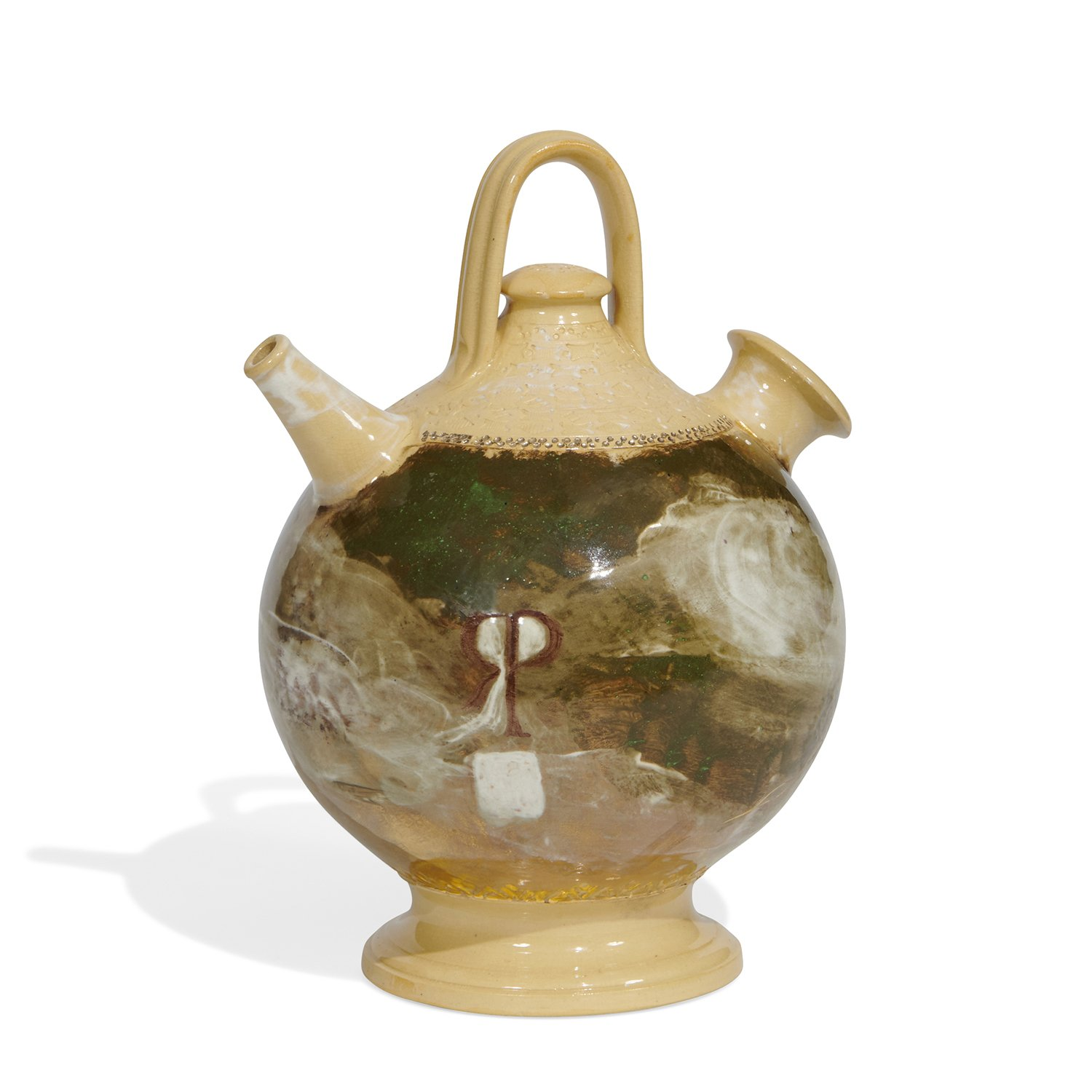 Alfred Laurens Brennan (1853-1921) for Rookwood Pottery earthenware Spanish water jug with decoration consisting of a lobster and th...