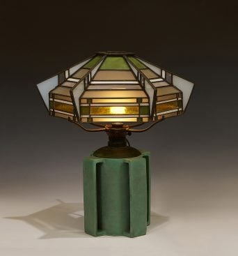 <strong>Teco, W.D. Gates & Orlando Giannini, designers</strong>, table lamp: shade on base, #500G