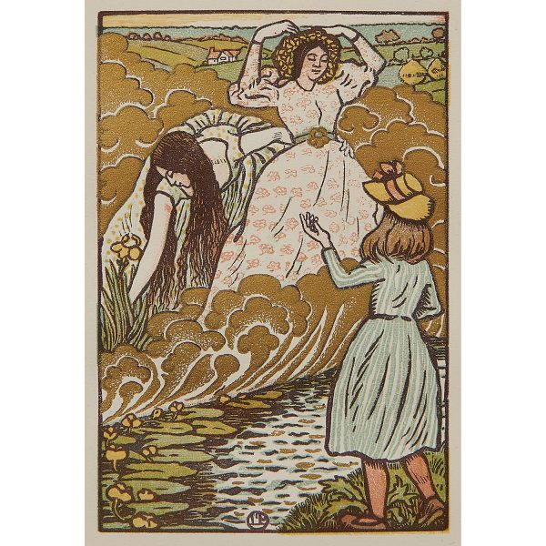 """Lucien Pissarro, (French, 1863-1944), In the Field, 1894, color woodcut, 4 1/2"""" x 3"""""""