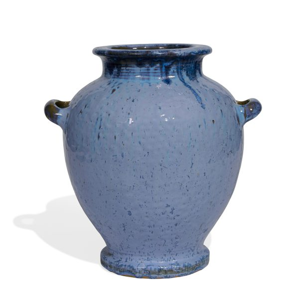 """Fulper Pottery Co. large two-handled earthenware urn vase in blue with scattering of large blue crystals, shape number 490 12 1/2""""w..."""