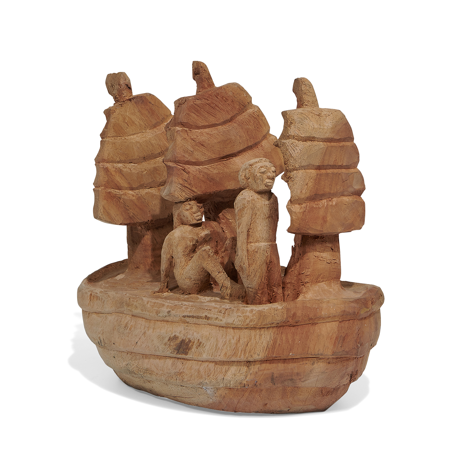 """Folk Art carved wood sculpture of two figures on a three-masted ship 8""""w x 14 1/4""""d x 12""""h"""