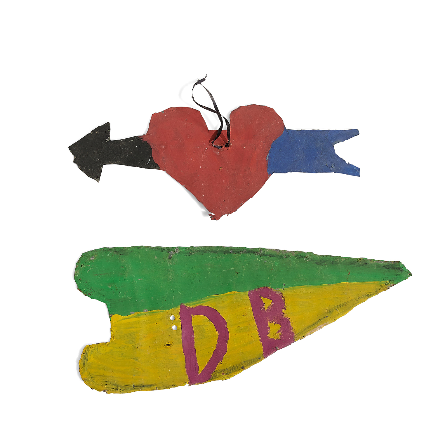 """David Butler, (American, 1898-1997), Two Hearts, paint and tin, one with ribbon, 4 3/4"""" x 10 1/2""""; 11 3/8"""" x 5"""""""