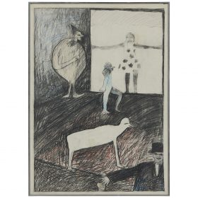 """Mana Lagerholm, (Swedish, 1946-2001), Drawing I (Five Figures and Animal), pencil and colored pencil on paper, 30"""" x 21 3/4"""""""