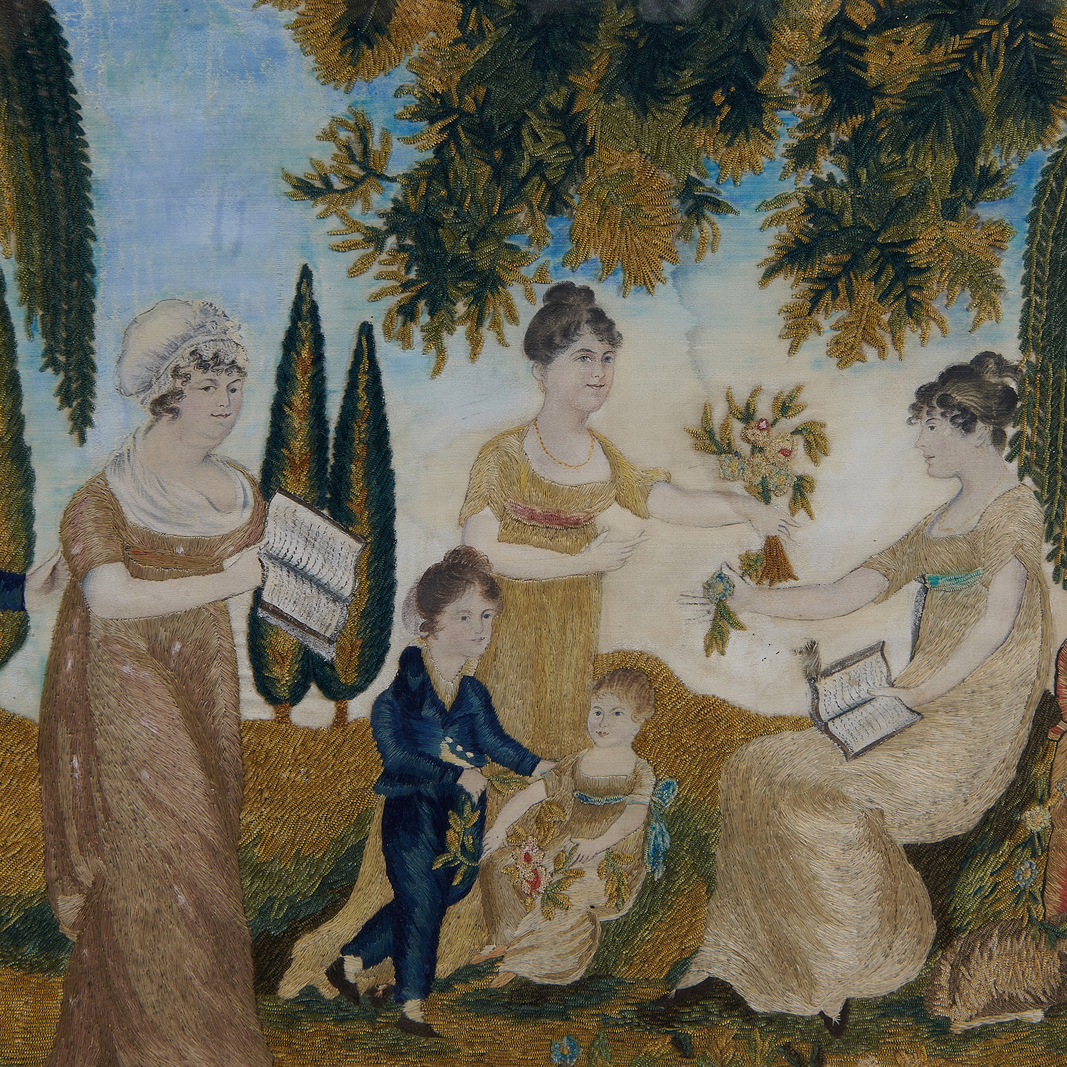 Designed and Painted by Samuel Folwell (1764-1813), Worked by Anna Greer a silk on silk needlework family picture — depicting Miss A...