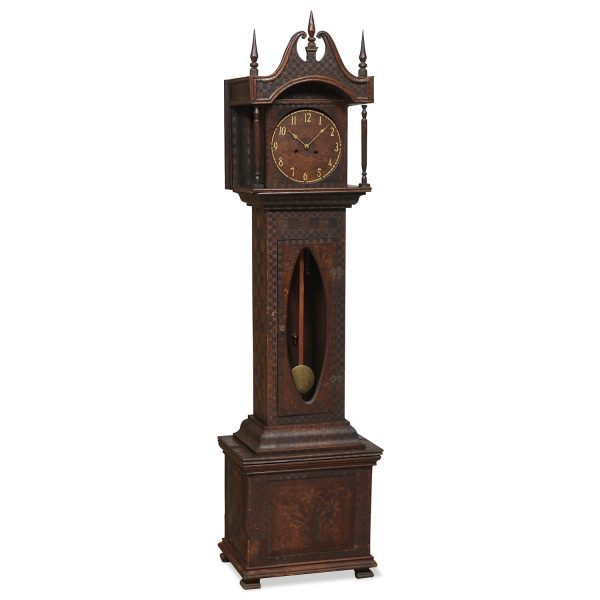 """American Folk Art tall case clock decorated with pyrography 22 1/2""""w x 15 1/2""""d x 85""""h"""