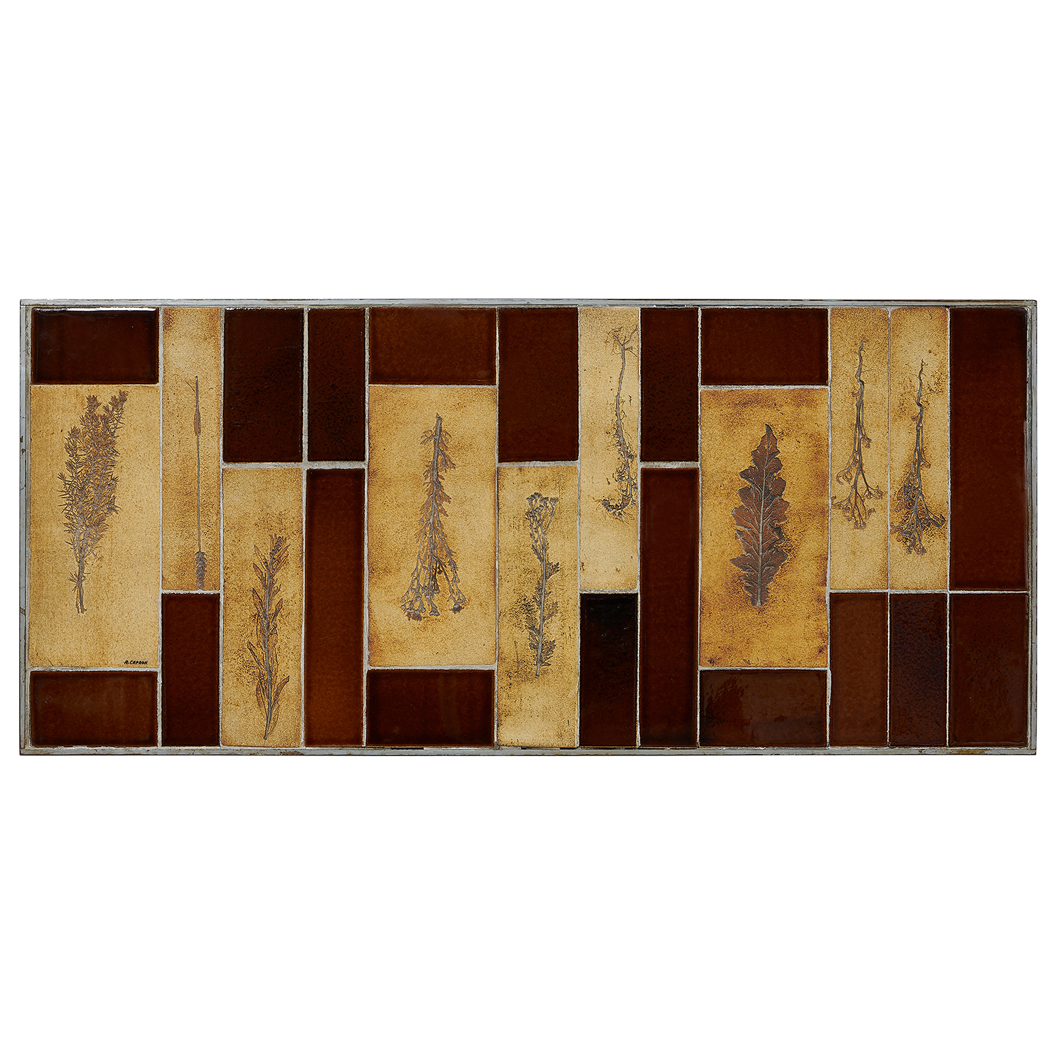 """Roger Capron (1922-2006) coffee table with leaf decorations 51""""w x 22 7/8""""d x 11 5/8""""h"""