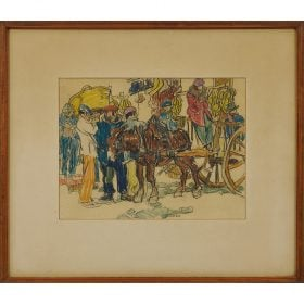 """Walter Louderback, (American, 1887-1941), The Unemployed of Spain, colored pencil on Sucs de Torras paper, 9 1/2"""" x 12 1/4"""""""
