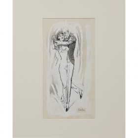 """Rudolf Bauer, (German, 1889-1953), Man and Woman Dancing, ink and gouache on paper, 17 7/8"""" x 10 3/4"""""""