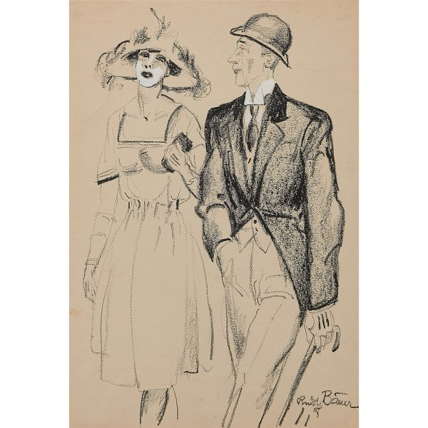 """Rudolf Bauer, (German, 1889-1953), Man and Woman Strolling, pastel and gouache on paper, 17 1/2"""" x 12 1/8"""""""